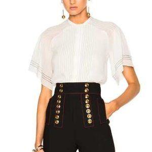 Burberry Silk Flutter Short Sleeve Button Shirt